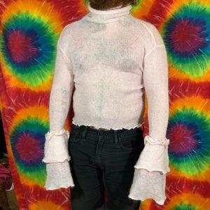 Avant-Garde Sheer Knit Ruffle Bell Sleeve Sweater